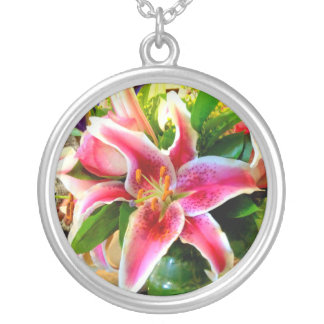 pink stargazer lily necklace