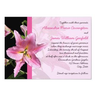 Pink Stargazer Lily Wedding invitation 2