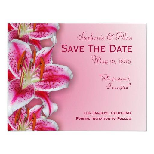 "Pink Stargazer Save The Date Card 4.25"" X 5.5"" Invitation Card"