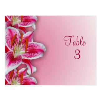 Pink Stargazer Table Number Postcard