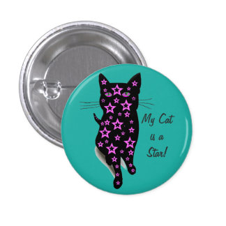 Pink Starry Black Cat Silhouette on Teal Button