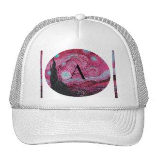 Pink Starry night monogram Mesh Hats