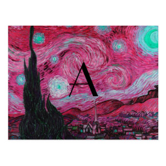 Pink Starry night monogram Post Card
