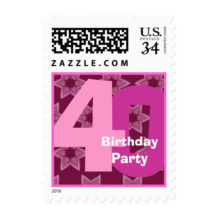 Pink Stars 40th Birthday Party Big Numbers V001A Postage Stamp