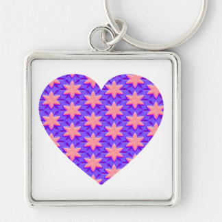 Pink Stars and Blue Heart Keychain
