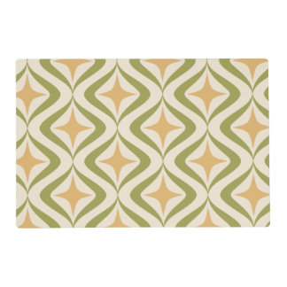Pink stars and green waves placemat