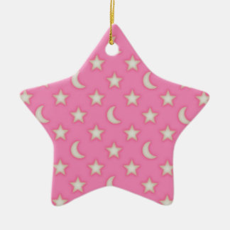 Pink stars and moons pattern ceramic ornament