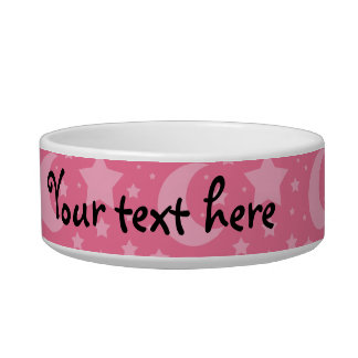 Pink stars and moons pattern cat bowls