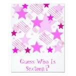 "Pink Stars and Stripes Birthday Party Invitations 4.25"" X 5.5"" Invitation Card"