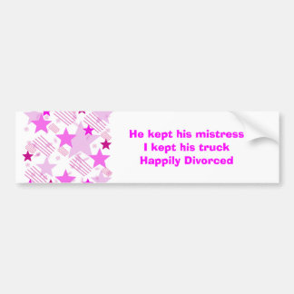 Pink Stars and Stripes Happily Divorced Bumper Sticker
