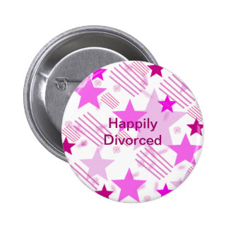 Pink Stars and Stripes Happily Divorced Pinback Button