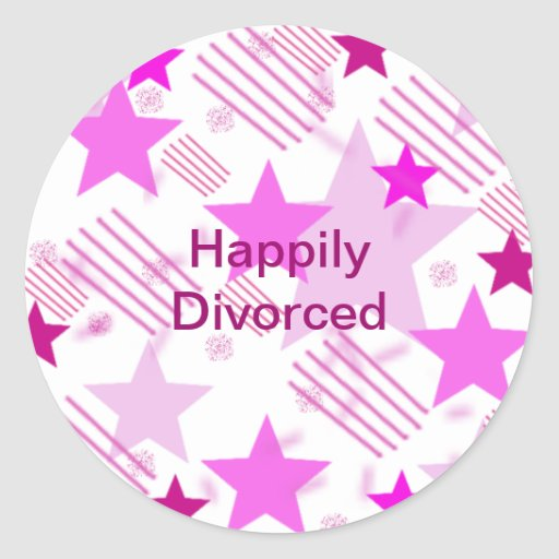 Pink Stars and Stripes Happily Divorced Classic Round Sticker