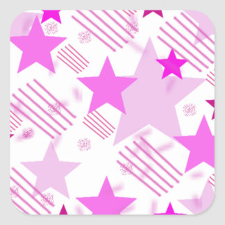 Pink Stars and Stripes Square Sticker
