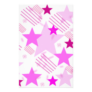 Pink Stars and Stripes Stationery