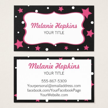 Professional Business Pink Stars and White Polka Dots Business Card