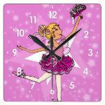 Pink stars ballerina blonde girls wall clock