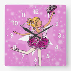 Pink Stars Ballerina Blonde Girls Wall Clock at Zazzle
