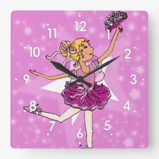 Pink stars ballerina blonde girls wall clock