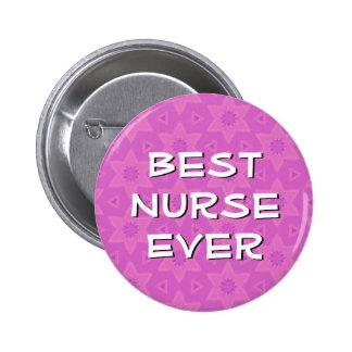 PINK STARS Best Nurse Ever Modern Lettering V04 2 Inch Round Button
