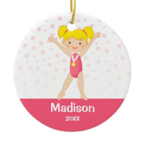 Pink Stars Blonde Girl Gymnastics Personalized Ceramic Ornament
