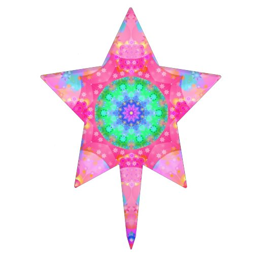 Pink Stars & Bubbles Fractal Pattern Star Cake Pick