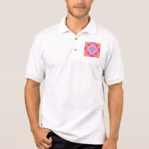 Pink Stars & Bubbles Fractal Pattern Polo Shirt