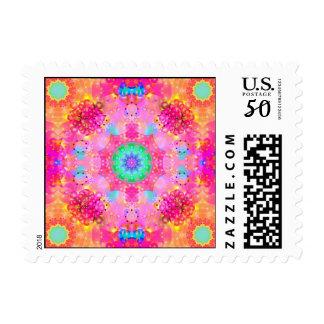 Pink Stars & Bubbles Fractal Pattern Postage