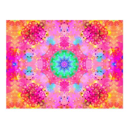 Pink Stars & Bubbles Fractal Pattern Postcards