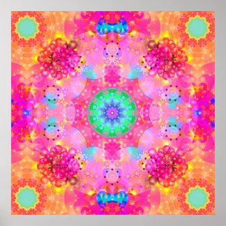 Pink Stars & Bubbles Fractal Pattern Poster