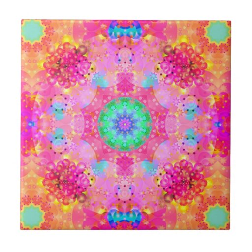 Pink Stars & Bubbles Fractal Pattern Small Square Tile