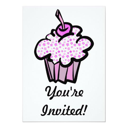 pink stars cupcake card