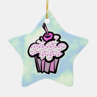 pink stars cupcake ornaments