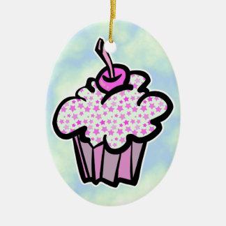 pink stars cupcake christmas ornament