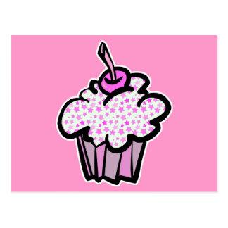 pink stars cupcake postcard