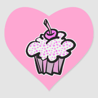 pink stars cupcake stickers