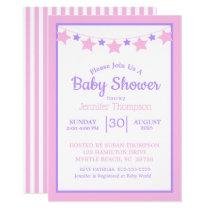 Pink Stars Girls Baby Shower Invitation