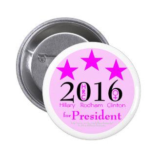 Pink Stars Hillary Rodham Clinton 1st Female Pres. Pinback Button