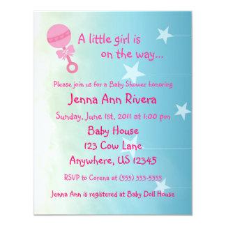 Pink Stars in the Sky Baby Shower Invite