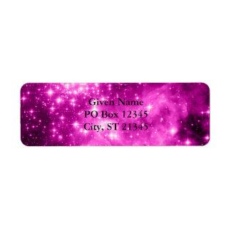Pink Stars Return Address Label