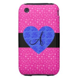 Pink stars monogram blue roses iPhone 3 tough covers