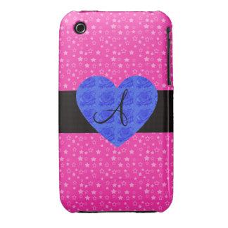 Pink stars monogram blue roses iPhone 3 Case-Mate cases