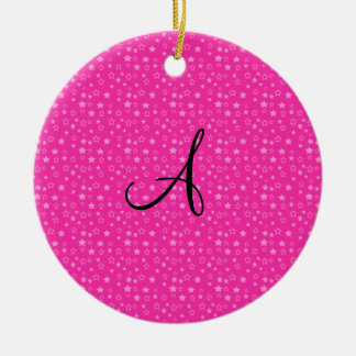Pink stars monogram gifts Double-Sided ceramic round christmas ornament