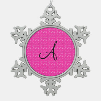 Pink stars monogram gifts snowflake pewter christmas ornament