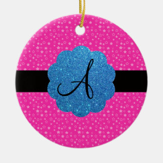 Pink stars monogram Double-Sided ceramic round christmas ornament