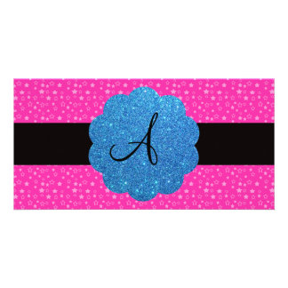 Pink stars monogram picture card