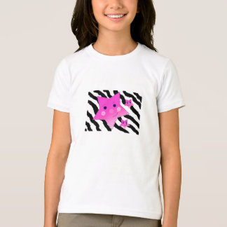 Pink Stars on a Zebra Print Background T-Shirt