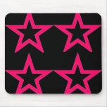 Pink Stars on Black - Mousepad