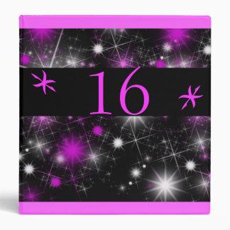 Pink Stars on Black Sweet Sixteen Photo Album 3 Ring Binder