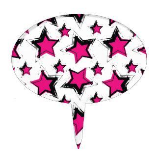 Pink stars on white background.jpg cake topper