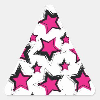 Pink stars on white background.jpg triangle sticker